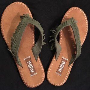 8b1f32e298590e Mad Love Shoes - Mad Love suede fringe flip flop sandal 5 6