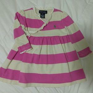 Ralph Lauren pink striped wrap dress. 12 months