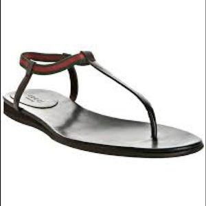 1fe3045388a Gucci Shoes - Gucci Black Leather Areia Web Stripe Thong Sandals