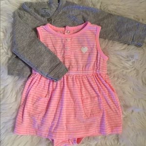 Pink dress w/ grey sweater