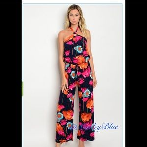 Pants - 🆕Navy Floral Halter Jumpsuit 🇺🇸Made in USA
