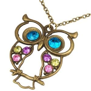 Jewelry - NEW! Vintage style colorful Owl charm necklace