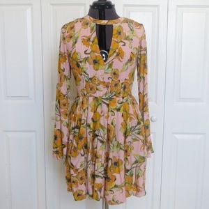 Free People Pink and Orange Floral Dress