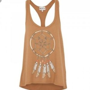 Wildfox Dream Weaver Racer Back Tank in Brown Med