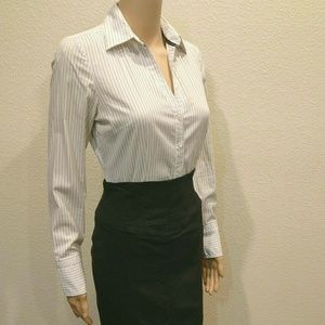Express White Pinstriped Long Sleeved Button Down