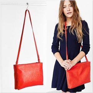 Silence + Noise Red Double Zip Crossbody Bag