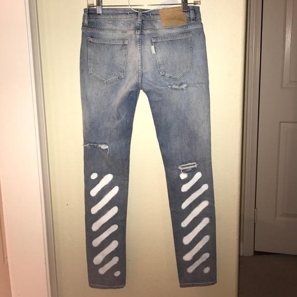 056e04d0577 Off White Pants | Ripped Jeans White Paint Patterns | Poshmark