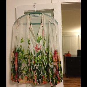 Blumarine Tulip Sleeve Tropical Floral Blouse S