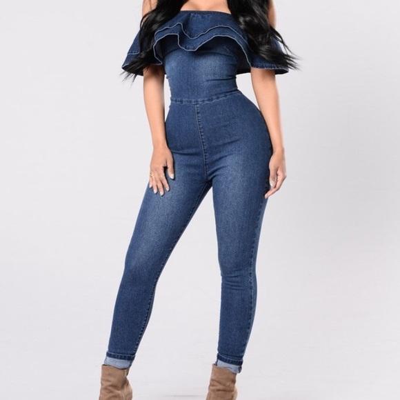 8bf72d3e909 Open Shoulder Plus Size Jean Jumpsuit🔜Final Day🔚