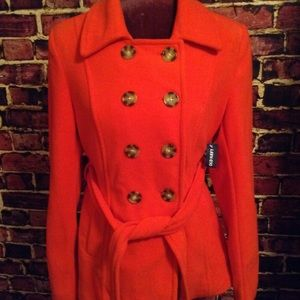 NWT Double Breasted Old Navy Pea Coat, cherry red.