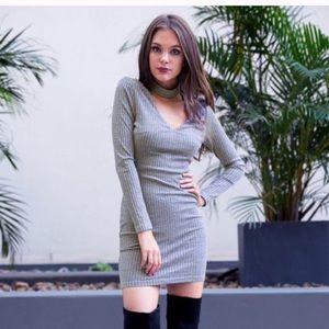 Dresses - ‼️Sale‼️Gray Choker Bodycon Dress
