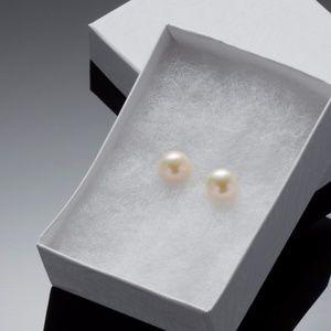 9mm Peach Pearl Earrings for sale