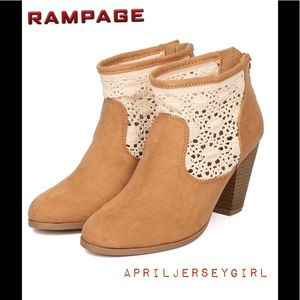 Shoes - RAMPAGE  - LIKE NEW- CROCHET FAUX SUEDE BOOTS
