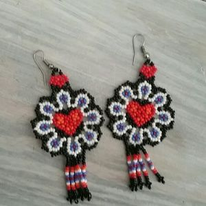 Jewelry - Mexican Beaded Heart Earrings