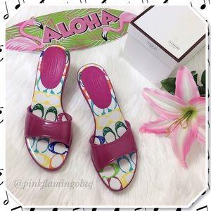 Shoes - Coach Nichelle Kitten Heel Slides Pink Punch