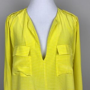 608384ad695fd Joie Tops -  Joie  Marlo Yellow Silk Top Blouse Pockets Long M