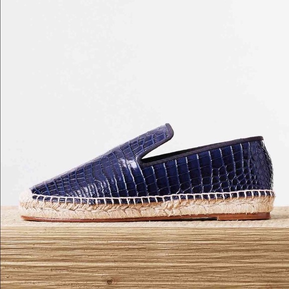 43461ae0ca5 Celine Shoes - Celine Blue Croc Embossed Espadrilles