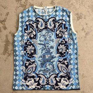 Vintage Sleeveless Top with Asian, Paisley Motifs.