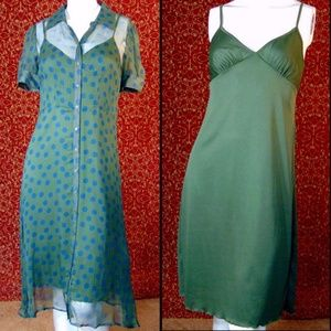 JONATHAN MARTIN VINTAGE green silk dress 8P