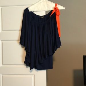 Tops - Orange and Blue Top