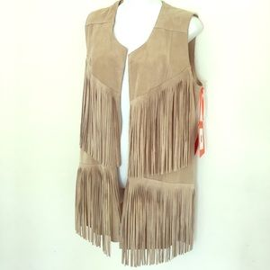New Italian real leather suede fringe vest