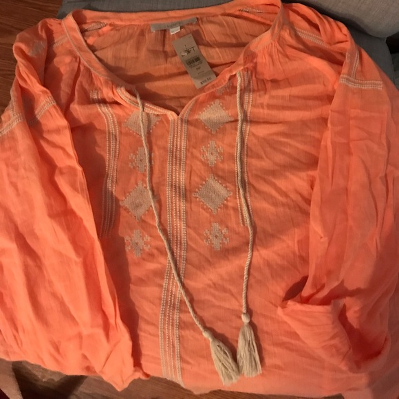 46ffc9db64086e LOFT Tops | Beautiful Peachy Orange Blouse Boho | Poshmark