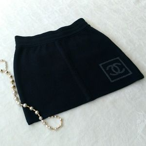 Host Pick! CHANEL collection logo wool mini skirt