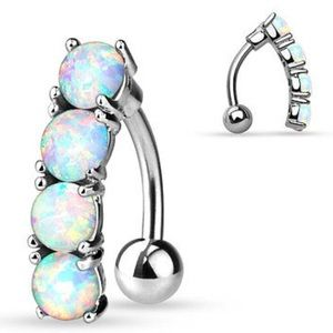 White Opal Belly Button Ring Navel Bar Barbell
