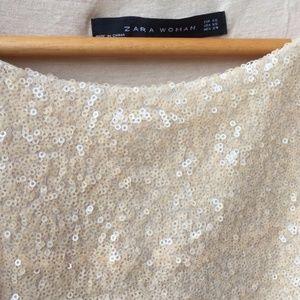 Zara Tops - Ivory Sequined Zara Top