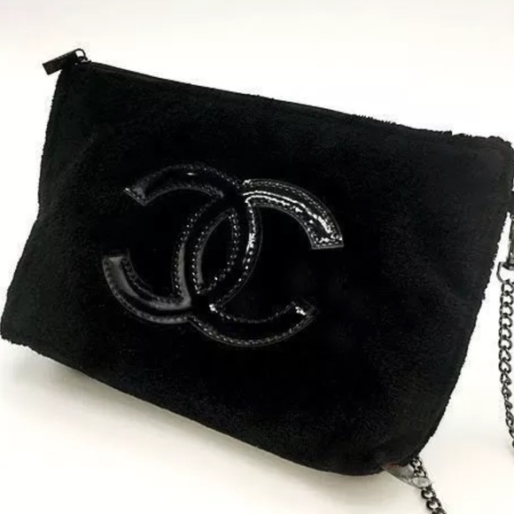 CHANEL Handbags - Chanel Black Velour crossbody bag VIP gift fcb564b290b0