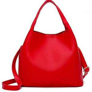 Faux Leather Cross Body Tote Bag - Red