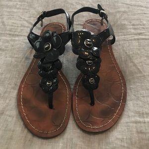 Coach Black Patent Leather, Flower Sandals