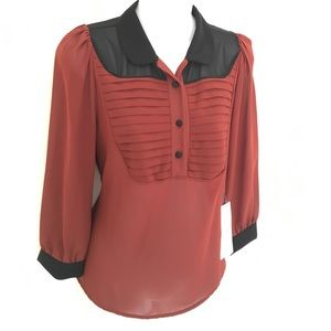 New Italian Rust chiffon blouse