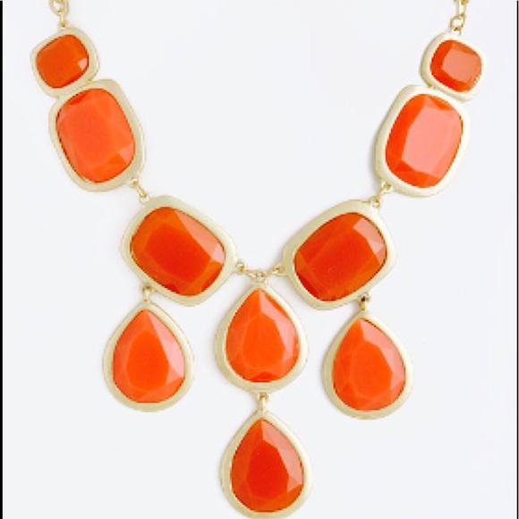 Orange Jewel Drop Necklace