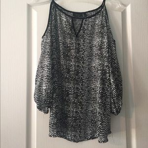 Apt. 9 Tops - Black and white cold shoulder blouse