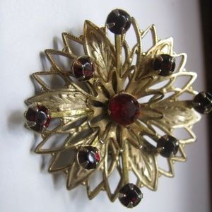 Garnet red glass filigree vintage brooch