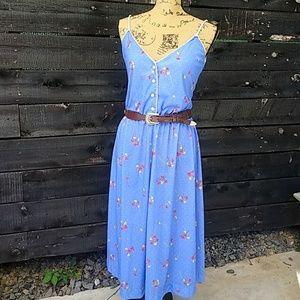 Vintage Blue Floral Midi Sun Dress