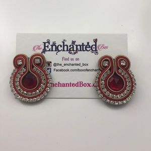 Red and beige earrings