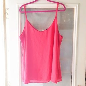 Hot pink double layer chiffon cami top sz 3