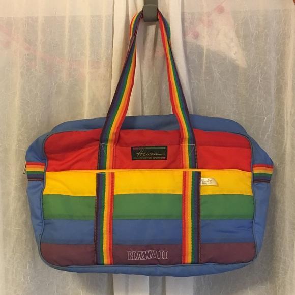 16fe822a0e74 Hawaii Victor Sports Duffle bag Rainbow 80s 70s. M 597e303556b2d692e20be42e