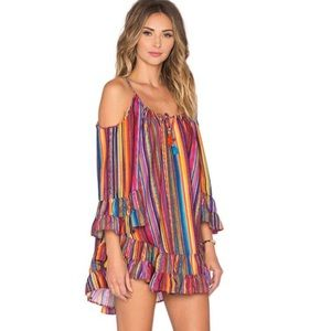 Other - HOST PICK! Rainbow Ruffle Open Shoulder Coverup