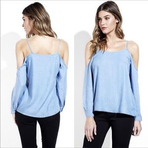 Tops - Last One 💔 Chambray Loose Fit Cold Shoulder Top