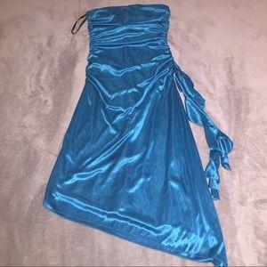 Blue XOXO satin cocktail dress, size S