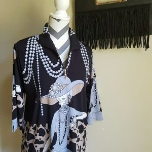 VINTAGE TOP with Sequins, Chic Lady and Pearls
