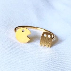 Jewelry - Pac-man matte gold adjustable ring size 7 / 8