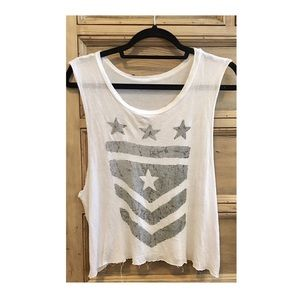 Tops - [unlabeled] | white graphic muscle tee