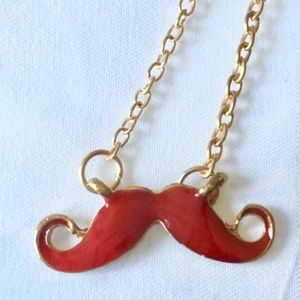Jewelry - Red Mustache Hipster Pendant Necklace