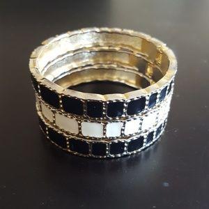 Jewelry - 3 Stackable Black, White & Gold Enamel Bracelets