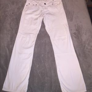 White straight-leg jeans, size 12