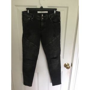 H&M Moto Style Black Jeans with Knee Rips